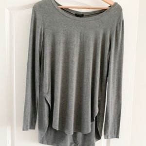 Gray High/low Comfy Long Sleeve
